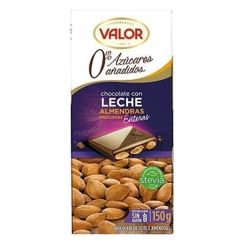 Valor Sugar Free Milk Chocolate with Almond